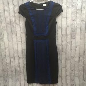 Suzy Shier Black + Blue Patterned Dress